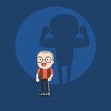 Illustrazione dell'uomo anziano e di forte ombra sulla parete Fotografia Stock