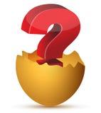 Illustrazione dell'uovo con il punto interrogativo rosso Fotografie Stock