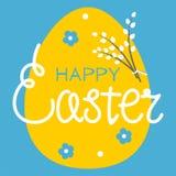 Illustrazione dell'uovo di Pasqua giallo con i salici su un fondo blu Modello per progettazione per le cartoline d'auguri, manife illustrazione vettoriale
