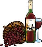 Illustrazione dell'uva rossa con il vino rosso ed il vetro della bottiglia in pieno Fotografia Stock Libera da Diritti
