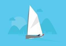 Illustrazione dell'yacht che fa concorrenza nell'evento di navigazione Fotografia Stock
