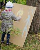 Illustrazione della bambina con i pastelli Immagine Stock