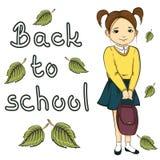 illustrazione della bambina con la borsa, di nuovo all'iscrizione dell'insegna di scuola isolata su fondo bianco Immagini Stock