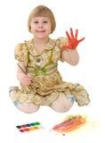 Illustrazione della bambina dell'acqua-colore Fotografie Stock