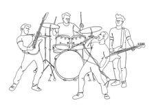 Illustrazione della banda di musica rock Singola linea stile illustrazione di stock
