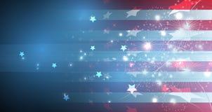 Illustrazione della bandiera americana astratta per la festa dell'indipendenza fla illustrazione di stock