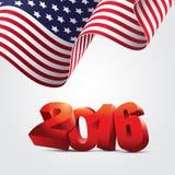 Illustrazione della bandiera americana e del nuovo anno Fotografie Stock Libere da Diritti