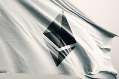 Illustrazione della bandiera 3d di cryptocurrency di Ethereum ETH illustrazione di stock