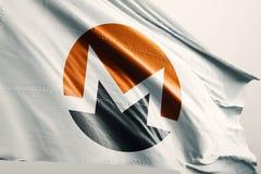 Illustrazione della bandiera 3d di cryptocurrency di Monero XMR illustrazione di stock