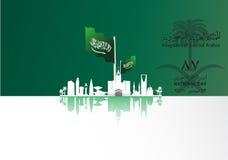 Illustrazione della bandiera dell'Arabia Saudita per festa nazionale il 23 settembre Immagini Stock Libere da Diritti
