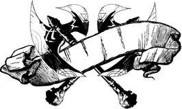 Illustrazione della bandiera dell'ascia di battaglia Immagini Stock Libere da Diritti