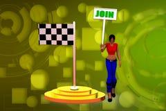 illustrazione della bandiera dell'unire della donna 3D Fotografie Stock