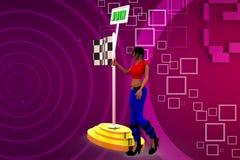 illustrazione della bandiera dell'unire della donna 3D Fotografia Stock Libera da Diritti