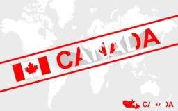 Illustrazione della bandiera e del testo della mappa del Canada royalty illustrazione gratis