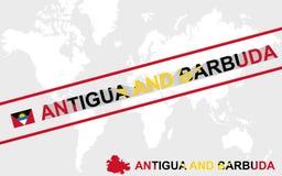 Illustrazione della bandiera e del testo della mappa dell'Antigua e Barbuda illustrazione di stock