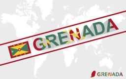 Illustrazione della bandiera e del testo della mappa della Granada illustrazione vettoriale