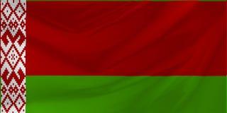 Illustrazione della bandierina ondulata del Belarus Immagini Stock