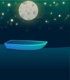 Illustrazione della barca di notte del lago Fotografia Stock Libera da Diritti