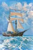 Illustrazione della barca, pittura Fotografia Stock