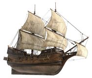 Illustrazione della barca a vela 3D isolata su bianco Immagine Stock
