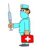 Medico con la borsa e l'iniezione rosse illustrazione vettoriale