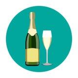 Illustrazione della bottiglia di champagne e di vetro di champagne in a Fotografie Stock