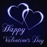 Illustrazione della carta del biglietto di S. Valentino nello stile della costellazione della stella blu Immagine Stock