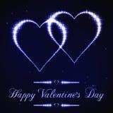 Illustrazione della carta del biglietto di S. Valentino nello stile della costellazione della stella blu Immagini Stock Libere da Diritti