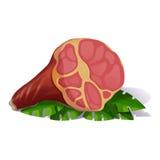 Illustrazione della carta per i giochi con le carte di memoria: Prosciutto di Parma montenegrino con la verdura Immagine Stock