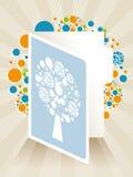 Illustrazione della cartolina d'auguri con l'albero astratto Immagine Stock Libera da Diritti
