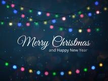 Illustrazione della cartolina d'auguri di Buon Natale fondo festivo di vettore con le luci Immagine Stock Libera da Diritti