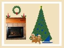 Illustrazione della cartolina di Natale Fotografie Stock Libere da Diritti