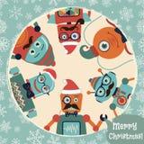 Illustrazione della cartolina di Natale dei robot dei pantaloni a vita bassa di vettore retro Immagini Stock