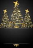 Illustrazione della cartolina di Natale dell'oro e del nero Fotografia Stock