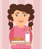 Illustrazione della cartolina di Natale La bella ragazza sveglia del fumetto che tengono un latte ed i biscotti fanno un spuntino Fotografie Stock Libere da Diritti