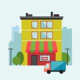 Illustrazione della casa del negozio con il furgone di consegna Immagini Stock Libere da Diritti