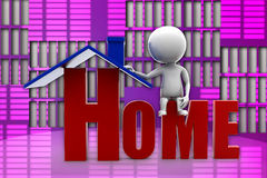 illustrazione della casa dell'uomo 3d Fotografie Stock Libere da Diritti