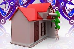 illustrazione della casa della pittura della rana 3d Fotografie Stock Libere da Diritti