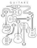 Illustrazione della chitarra nella linea nera fotografia stock libera da diritti