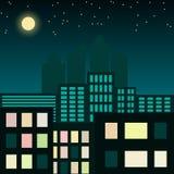 Illustrazione della città alla notte Fotografie Stock