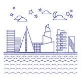 Illustrazione della città di vettore Costruzioni, Fotografia Stock