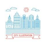 Illustrazione della città di vettore nello stile lineare Fotografia Stock