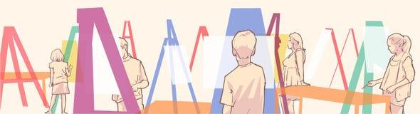Illustrazione della classe della pittura di arte con i giovani studenti royalty illustrazione gratis