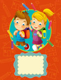 Illustrazione della copertura - buona per la copertura o il diploma - illustrazione per i bambini Fotografia Stock