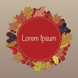 Illustrazione della corona con i mazzi di bacche e di foglie di autunno Fotografia Stock