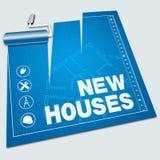Illustrazione della costruzione 3d della proprietà di manifestazioni delle nuove case illustrazione di stock