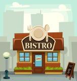 Illustrazione della costruzione del ristorante dei bistrot del fumetto di vettore illustrazione di stock