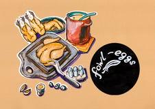 Illustrazione della cucina del menu dei prodotti dei gallinacei illustrazione vettoriale