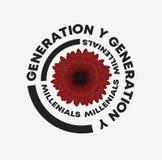 Illustrazione della dalia di slogan della generazione Y Perfezioni per la decorazione domestica quali i manifesti, l'arte della p illustrazione vettoriale