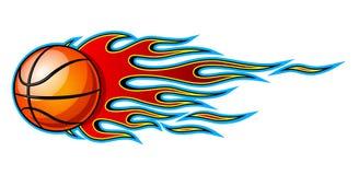 Illustrazione della decalcomania dell'icona ardente della palla di pallacanestro con fuoco royalty illustrazione gratis